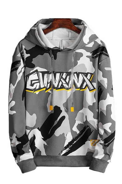 Men's New Fashion Camouflage Letter Printed Long Sleeve Casual Loose Fit Sports Drawstring Hoodie