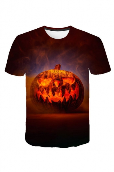 Mens Halloween Cool Pumpkin Print Round Neck Short Sleeve Casual Basic T-Shirt