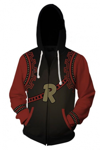 Letter R 3D Printed Colorblocked Black and Red Long Sleeve Loose Fitted Zip Up Drawstring Hoodie