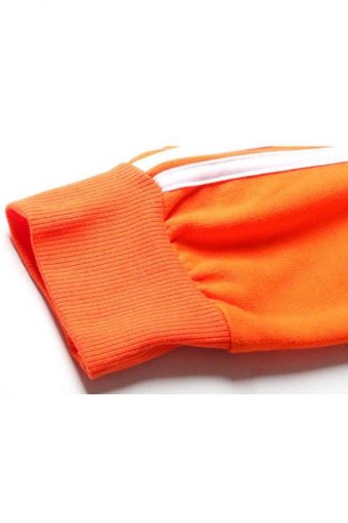New Fashion Simple Basic Plain Long Sleeve Zip Up Orange Cropped Hoodie