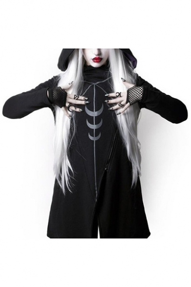 New Style Halloween Moon Print Oblique Zipper Asymmetric Hem Long Hooded Coat