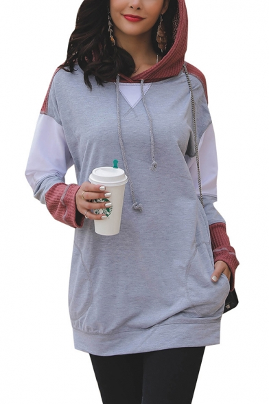 New Stylish Drawstring Hood Color Block Long Sleeve Long Hoodie With Pocket