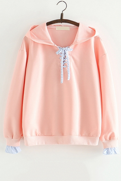 New Stylish Lacing Front Hood Striped Long Sleeve Loose Hoodie