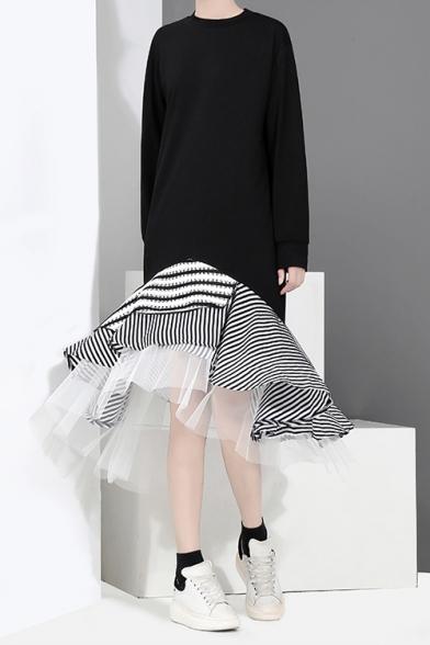 New Trend Round Neck Long Sleeve Hybrid Panelled Striped Ruffles Chiffon Shift Asymmetrical Maxi Dress