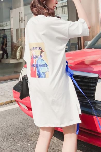 New Trendy Round Neck Short Sleeve Tie Front Slit Letter Print T-Shirt Shift Dress