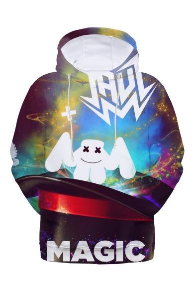 Popular DJ Smile Face Galaxy 3D Printed Drawstring Hooded Long Sleeve Unisex Casual Loose Hoodie