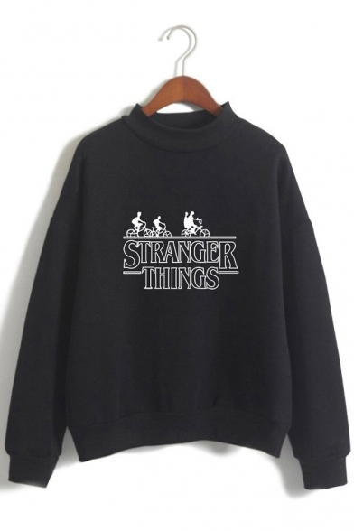 Letter Cartoon Figure Printed Long Sleeve Round Neck Casual Loose Sweatshirt