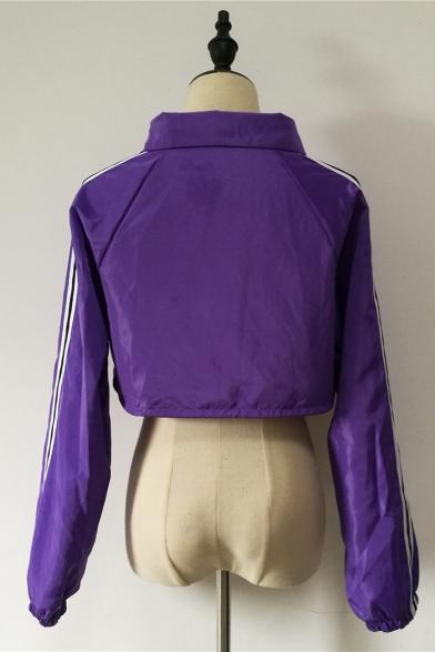 Street Popular Lapel Collar Purple Contrast Stripe Drawstring Hem Cropped Jacket Coat