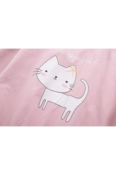 Students Preppy Style Cat Embroidery Bow Embellished Zip Up Hooded Jacket