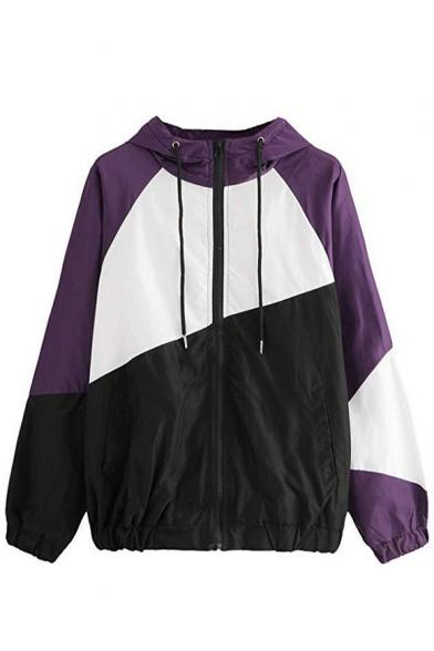 Stylish Color Block Elastic Hem Long Sleeve Zip Up Drawstring Hooded Coat Jacket