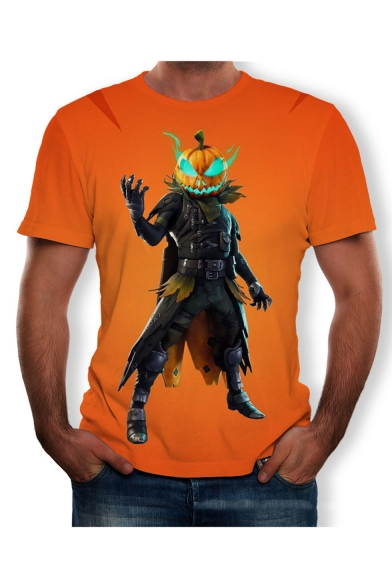 Summer Orange Short Sleeve Round Neck Pumpkin Head Human Body Printed Cool T-Shirt