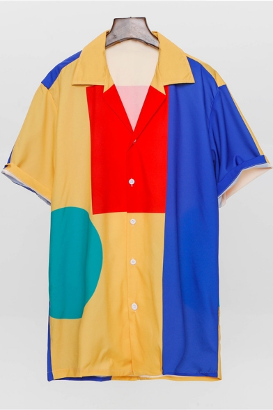 Summer Stylish Funny Geometric Pattern Casual Loose Short Sleeve Beach Shirt for Guys