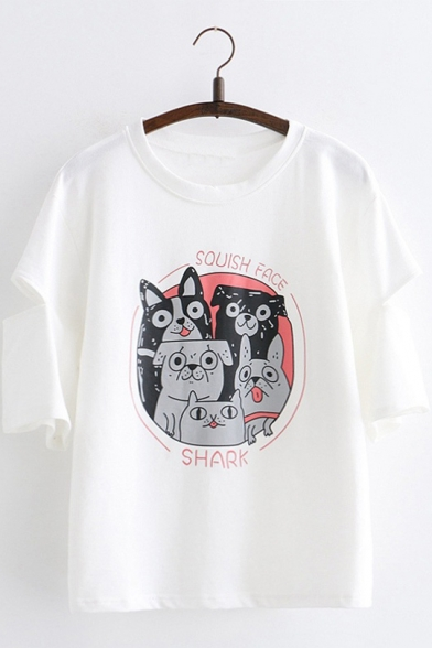 Summer Womens Round Neck Cutout Short Sleeve SHARK SQUISH FACE Letter Dog Printed Cute Tee