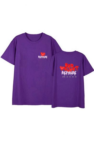 Unique Trendy Heart Letter RED VELVET Print Short Sleeve Summer Unisex T-Shirt