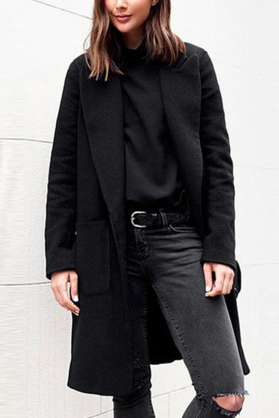 Winter Chic Ladies Single Breasted Lapel Collar Warm Long Woolen Coat