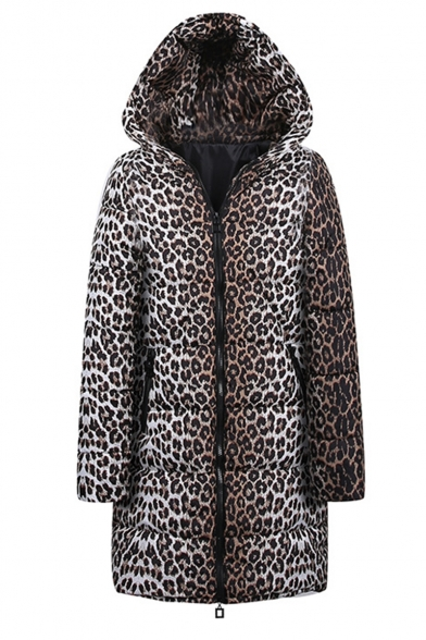 Winter Hot Popular Leopard Print Hooded Longline Zipper Down Coat