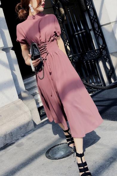 Women's Fashion Round Neck Short Sleeve Webbing Tunic Front tie Chiffon Maxi A-Line Dress