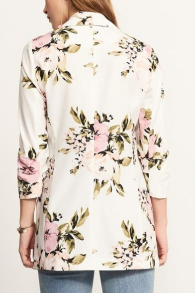 Women's Retro Floral Print Open Front Slim Fit Coat Blazer