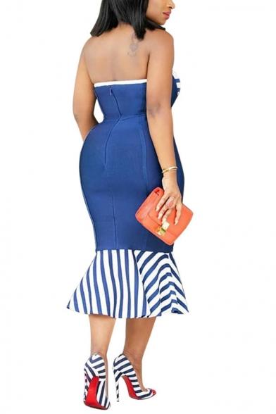 Women's Sexy Off the Shoulder Sleeveless Striped Ruffles Bodycon Maxi Wrap Dress