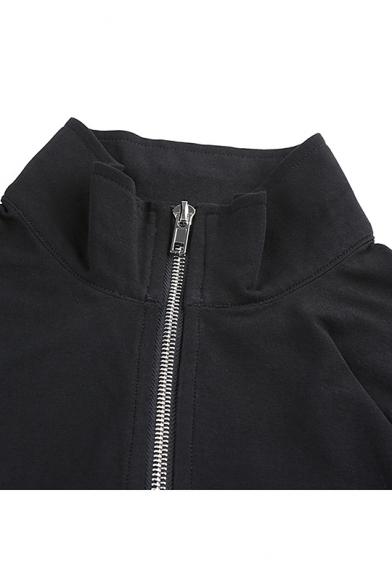 Womens Cool Plain Black Stand Collar Long Sleeve Zip Up Slim Fit Crop Sweatshirt Jacket