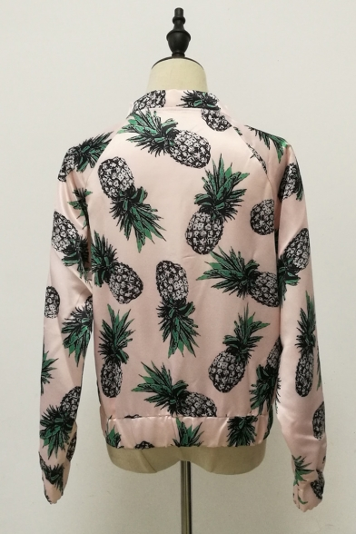 Womens Hot Fashion Pineapple Printed Long Sleeve Zip Up Fitted Jacket