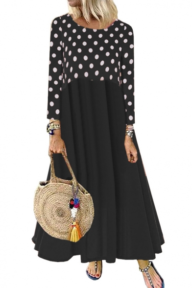 Womens Hot Fashion Round Neck Long Sleeve Polka Dot Panelled Loose Pleated Swing Maxi Dress