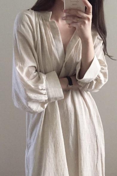 Womens New Trend Stand Collar Long Sleeve Pockets Loose Plain Shift Shirt Maxi Dress