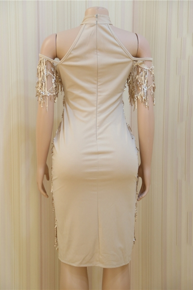 Womens Sexy Halter Short Sleeve Hollow Hybrid Panelled Sequined Tassel Plain Asymmetrical Sheath Midi Dress