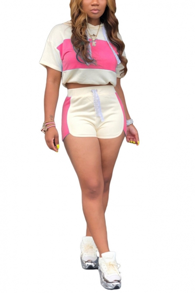 Womens Stylish Patchwork Hooded Short Sleeve Crop Tops with Elastic Dolphin Shorts Co-ords, LM556383, Rose red;light blue;purple