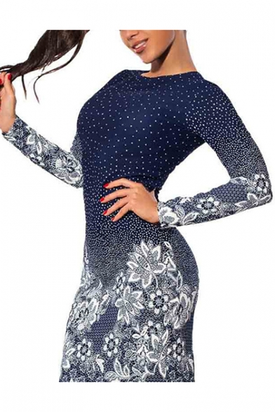 Womens Trendy Navy Floral Printed Round Neck Long Sleeve Mini Bodycon Dress