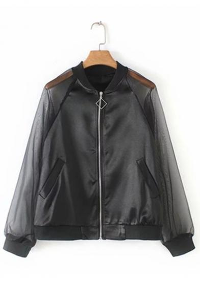 Womens Unique Transparent Mesh Panel Long Sleeve Stand Collar Plain Zip Up Sunscreen Jacket