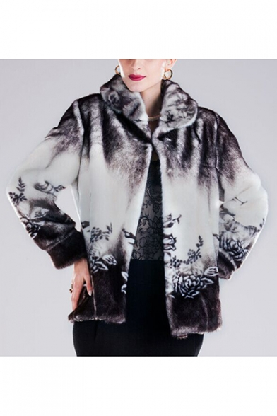 Womens Winter Luxury Floral Printed Lapel Collar Faux Mink Faux Fur Coat Outerwear, LM558888