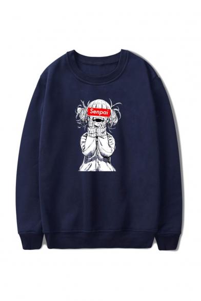 3D SENPAI Letter Comic Ahegao Figure Printed Round Neck Long Sleeve Unisex Casual Loose Sweatshirts