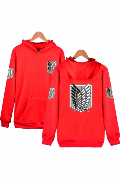 Cool Wing Printed Casual Loose Fitted Pullover Hoodie