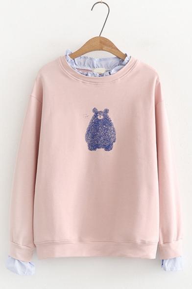 Cartoon Teddy Bear Printed Ruffled Round Neck Long Sleeve Pullover Sweatshirt