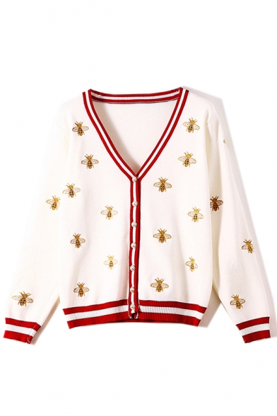 Classic Bee Print V-Neck Long Sleeve Fitted Cardigan