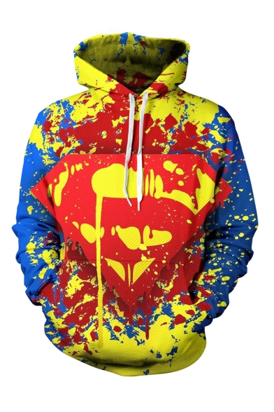 Cool Fashion Popular Logo S Colorful Spray Paint 3D Printed Long Sleeve Yellow Casual Loose Pullover Hoodie