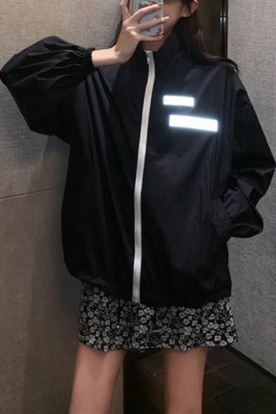 Cool Unique Detachable Reflective Light Velcro Patched Stand Collar Long Sleeve Zip Up Track Jacket
