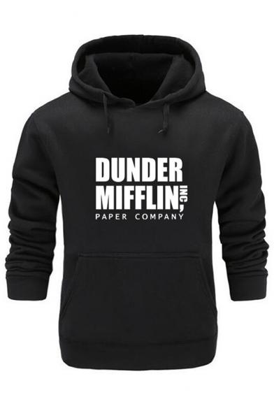 DUNDER MIFFLIN Simple Letter Logo Printed Long Sleeve Slim Hoodie