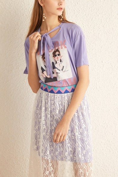 Fashion Figure Printed Casual Loose Tee with Midi Lace Skirt Two-Piece Set