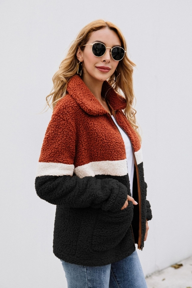 Female Fashion Lapel Collar Contrast Panel Zip Up Plush Coat with Pocket