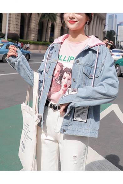 Girls Fashion Removable Hood Letter Appliqués Printed Button Cuffs Denim Jacket