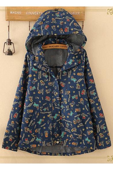 Girls Funny Cartoon Dinosaur Star Printed Long Sleeve Hooded Coat