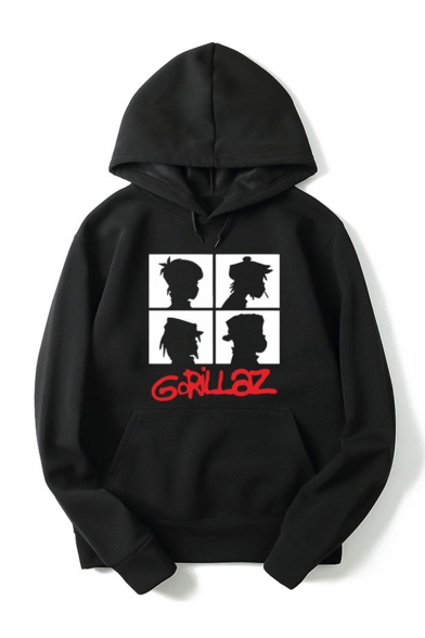 Gorillaz Letter Comic Figure Printed Long Sleeve Casual Sports Unisex Pullover Hoodie