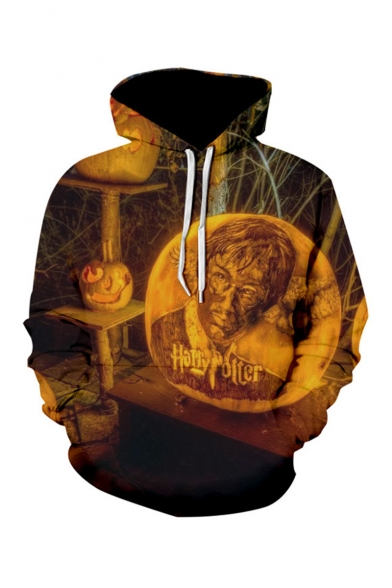 Harry Potter Halloween Pumpkin Fire 3D Printed Long Sleeve Drawstring Hooded Black and Yellow Drawstring Hoodie