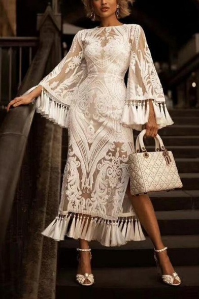 Hot Fashion Round Neck Bell-Cuff Sleeve Tassel Slit Floral Embroidery Plain Maxi A-Line Dress