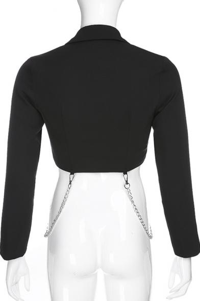 Notched Lapel Collar Single Button Cut-out at Armscye Black Cropped Blazer