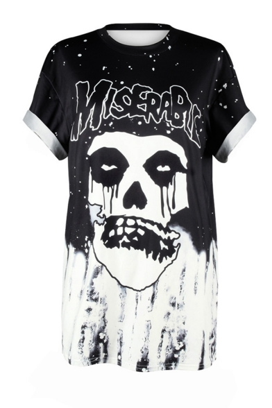 Hot Trendy Letter MISERABLE Character Skull Printed Round Neck Short Sleeve Black Tee