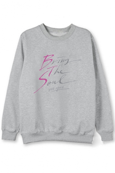 Kpop Unique Cool Simple Letter BRING THE SOUL Printed Round Neck Long Sleeve Pullover Sweatshirt