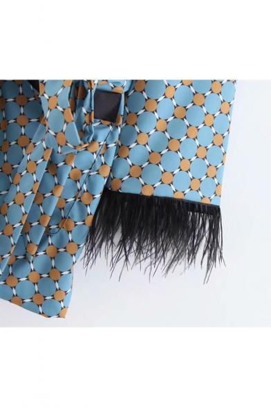 Leisure Geometric Printed Lapel Collar Tie-Waist Raw Edges Blazer Coat with Pockets
